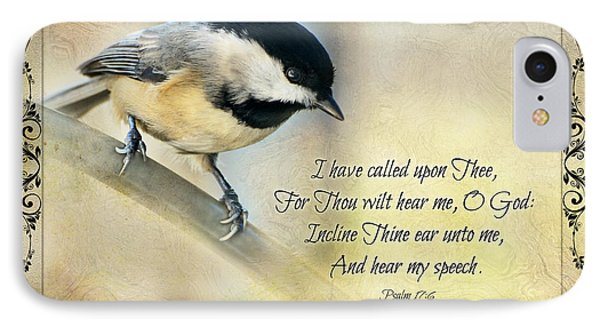 Chickadee With Verse IPhone Case by Debbie Portwood