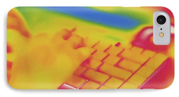 Child Using Laptop, Thermogram IPhone Case