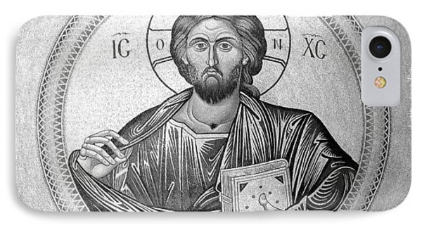Christ Pantocrator In Black And White -- Church Of The Holy Sepulchre IPhone Case by Stephen Stookey