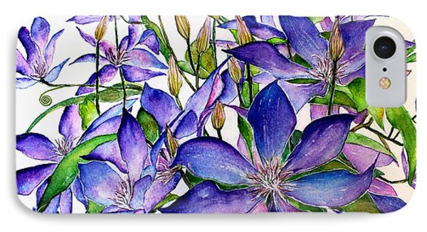Clematis Climbing Vine IPhone Case by Janet Immordino