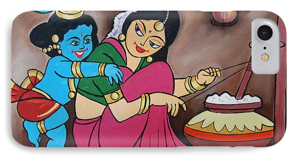 IPhone Case featuring the painting Cosmic Krishna  by Ragunath Venkatraman
