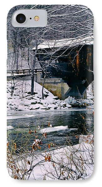 Covered Bridge In Wintry Vermont IPhone Case by Mountain Dreams