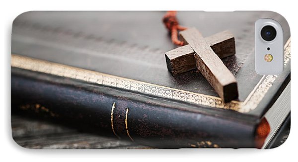 Cross On Bible IPhone Case by Elena Elisseeva