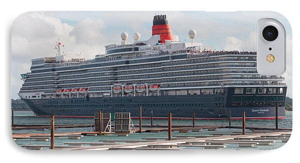 Cunards Queen Elizabeth IPhone Case by Shirley Mitchell