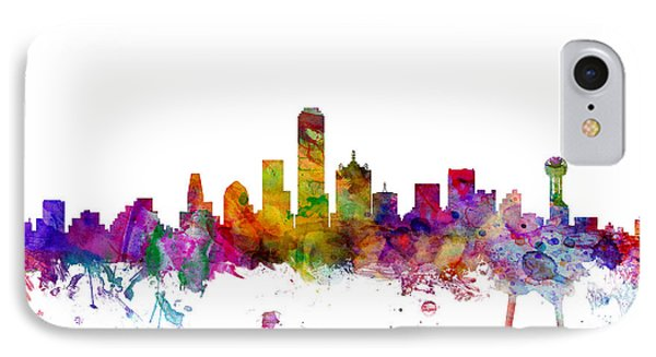 Dallas Texas Skyline IPhone Case by Michael Tompsett