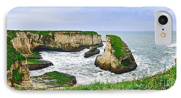 Dramatic Panoramic View Of Shark Fin Cove Phone Case by Jamie Pham