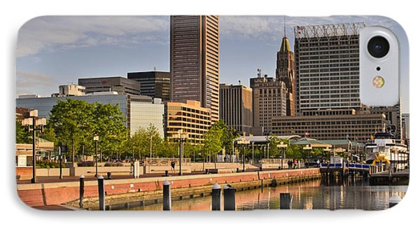 Early Morning Baltimore Inner Harbor IPhone Case by Marianne Campolongo