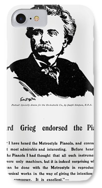 Edvard Grieg (1843-1907) IPhone Case by Granger