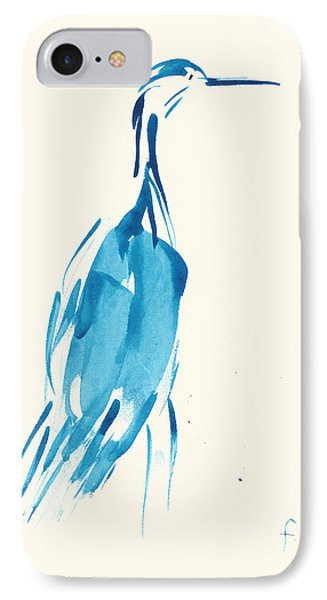 IPhone Case featuring the painting Egret In Blue Watercolor by Frank Bright