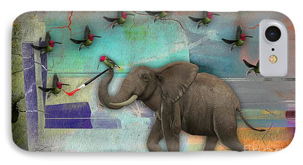 Elephant Painting Birds Out Of Thin Air. IPhone Case by Marvin Blaine