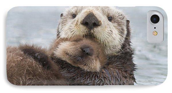 Otter iPhone 7 Case - Female Sea Otter Holding Newborn Pup by Milo Burcham