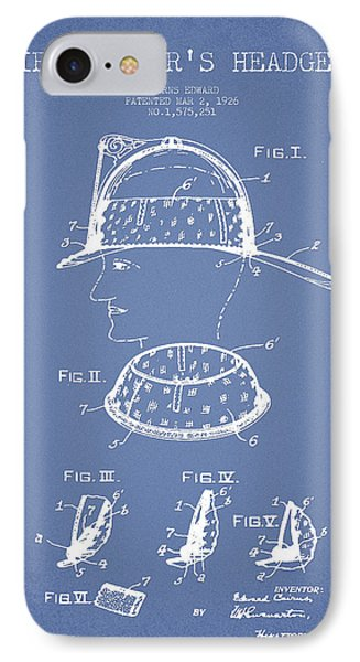 Firefighter Headgear Patent Drawing From 1926 IPhone Case