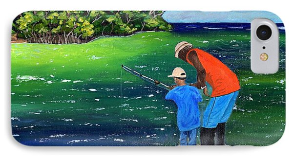 IPhone Case featuring the painting Fishing Buddies by Laura Forde