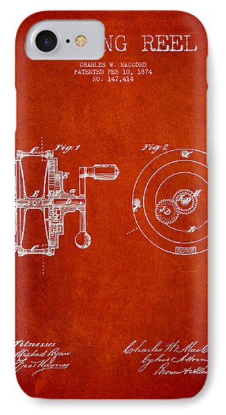 Fishing Reel Patent From 1874 Phone Case by Aged Pixel