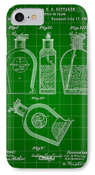 Flask Patent 1888 - Green IPhone Case by Stephen Younts