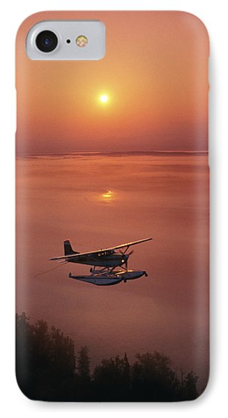 Floatplane Flying  Sunset Matanuska IPhone Case by Jeff Schultz