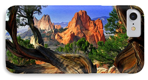 Garden Framed By Twisted Juniper Trees IPhone Case
