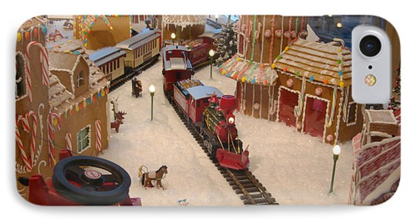 Gingerbread House Miniature Train IPhone Case by Ellen Tully