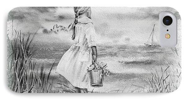 Girl And The Ocean IPhone Case by Irina Sztukowski
