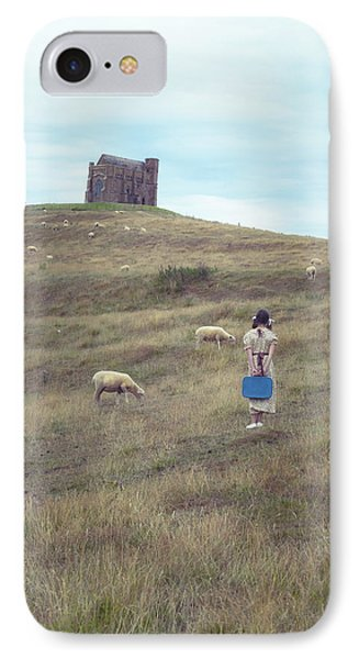 Girl With Sheeps Phone Case by Joana Kruse