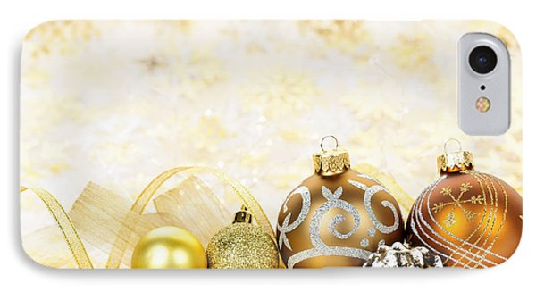 Golden Christmas Ornaments  IPhone Case