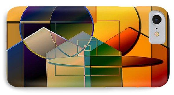 IPhone Case featuring the digital art Golden Circles by Iris Gelbart