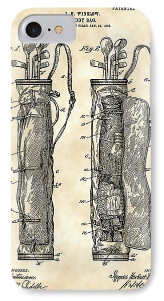 Golf Bag Patent 1905 - Vintage IPhone Case by Stephen Younts