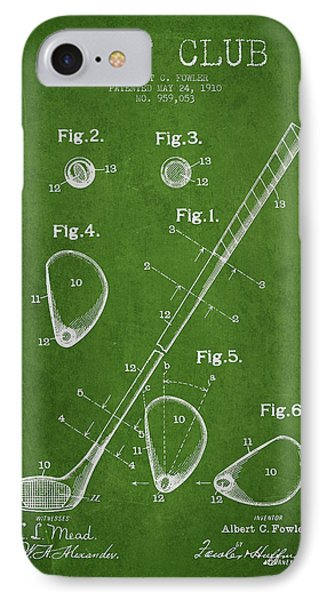 Golf Club Patent Drawing From 1910 IPhone Case by Aged Pixel
