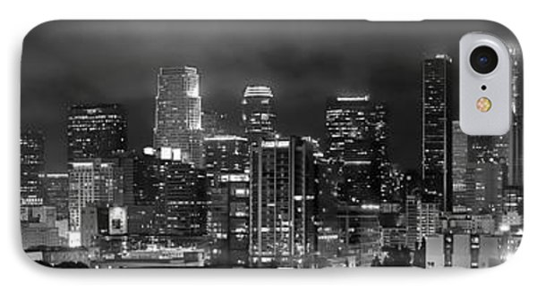Los Angeles Skyline iPhone 7 Case - Gotham City - Los Angeles Skyline Downtown At Night by Jon Holiday
