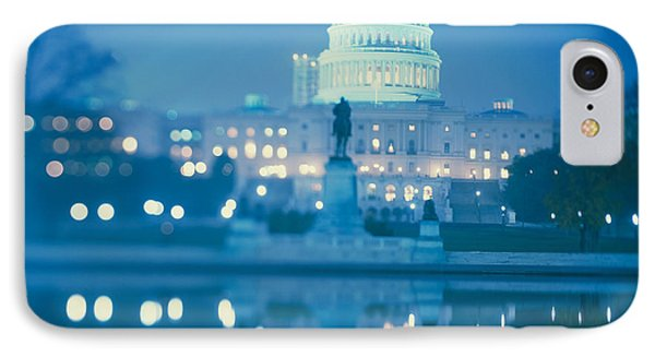 Government Building Lit Up At Night IPhone Case by Panoramic Images