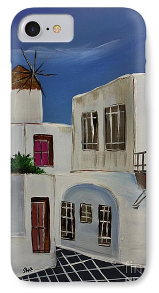 IPhone Case featuring the painting Greek Village by Janice Rae Pariza