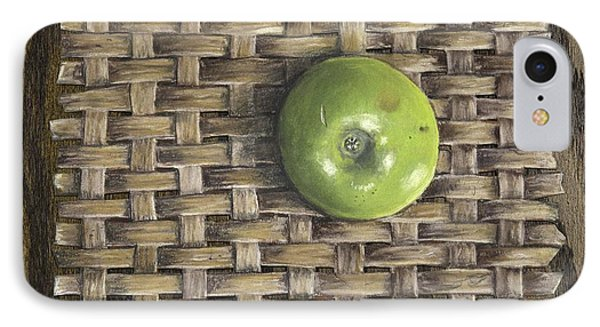 Green Apple On Basket IPhone Case by Claude Schneider