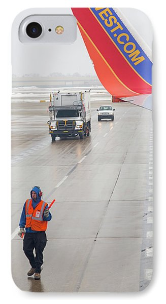 Ground Crew Worker At Chicago Airport IPhone Case