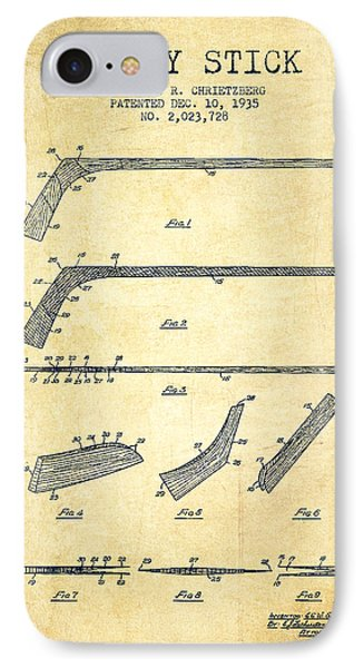 Hockey Stick Patent Drawing From 1935 IPhone Case by Aged Pixel