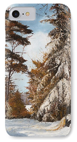 IPhone Case featuring the painting Holland Lake Lodge Road - Montana by Mary Ellen Anderson