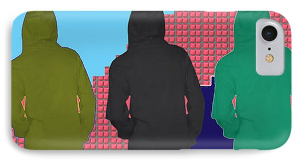Hoodie Gang Graffiti Fashion Background Designs  And Color Tones N Color Shades Available For Downlo IPhone Case by Navin Joshi