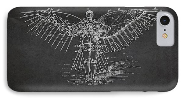 Icarus Flying Machine Patent Drawing Front View Phone Case by Aged Pixel