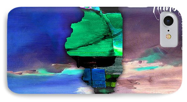 Illinois Map Watercolor IPhone Case by Marvin Blaine