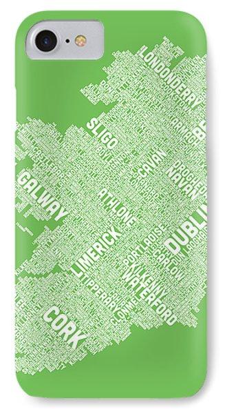 Ireland Eire City Text Map Phone Case by Michael Tompsett