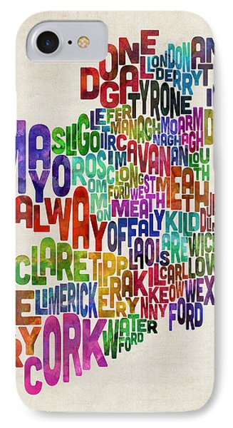 Ireland Eire County Text Map IPhone Case by Michael Tompsett
