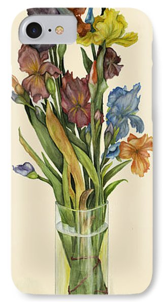 irises in Vase IPhone Case by Nan Wright