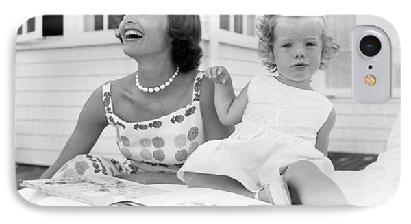 Jacqueline And Caroline Kennedy At Hyannis Port 1959 IPhone Case by The Harrington Collection