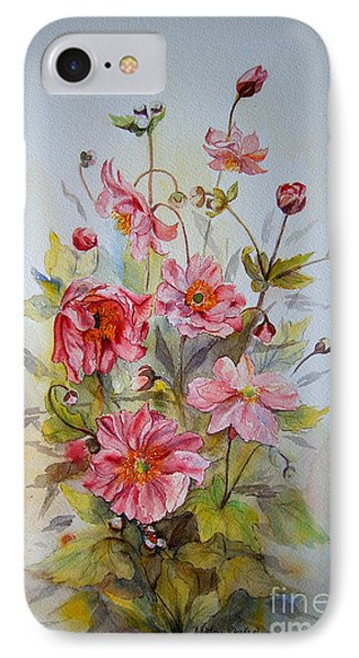 IPhone Case featuring the painting Japanese Anemones by Beatrice Cloake