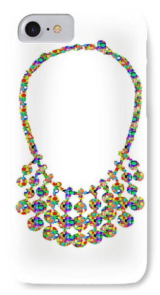 Jewel Strings Necklace  Artistic Color Tone N Textures Diy Template Download License Print Rights  IPhone Case by Navin Joshi