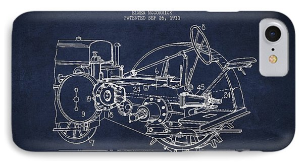 John Deer Tractor Patent Drawing From 1933 Phone Case by Aged Pixel