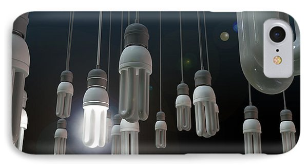 Leadership Hanging Lightbulb IPhone Case by Allan Swart