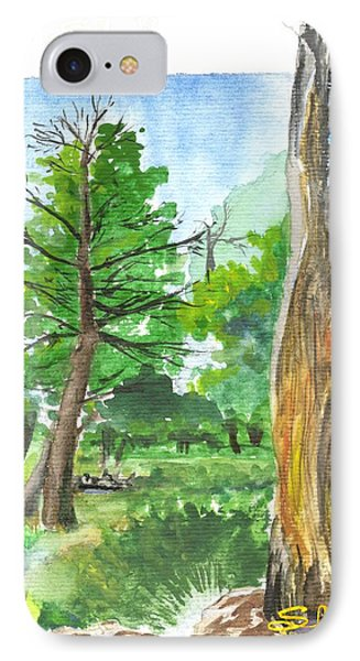 IPhone Case featuring the painting Lightening Strike Tree by Sherril Porter