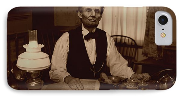 Lincoln At Breakfast IPhone Case by Ray Downing