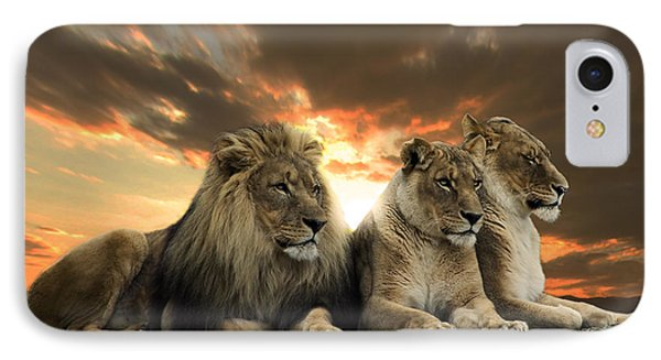 Lions IPhone Case by Christine Sponchia