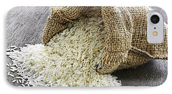 Long Grain Rice In Burlap Sack Phone Case by Elena Elisseeva